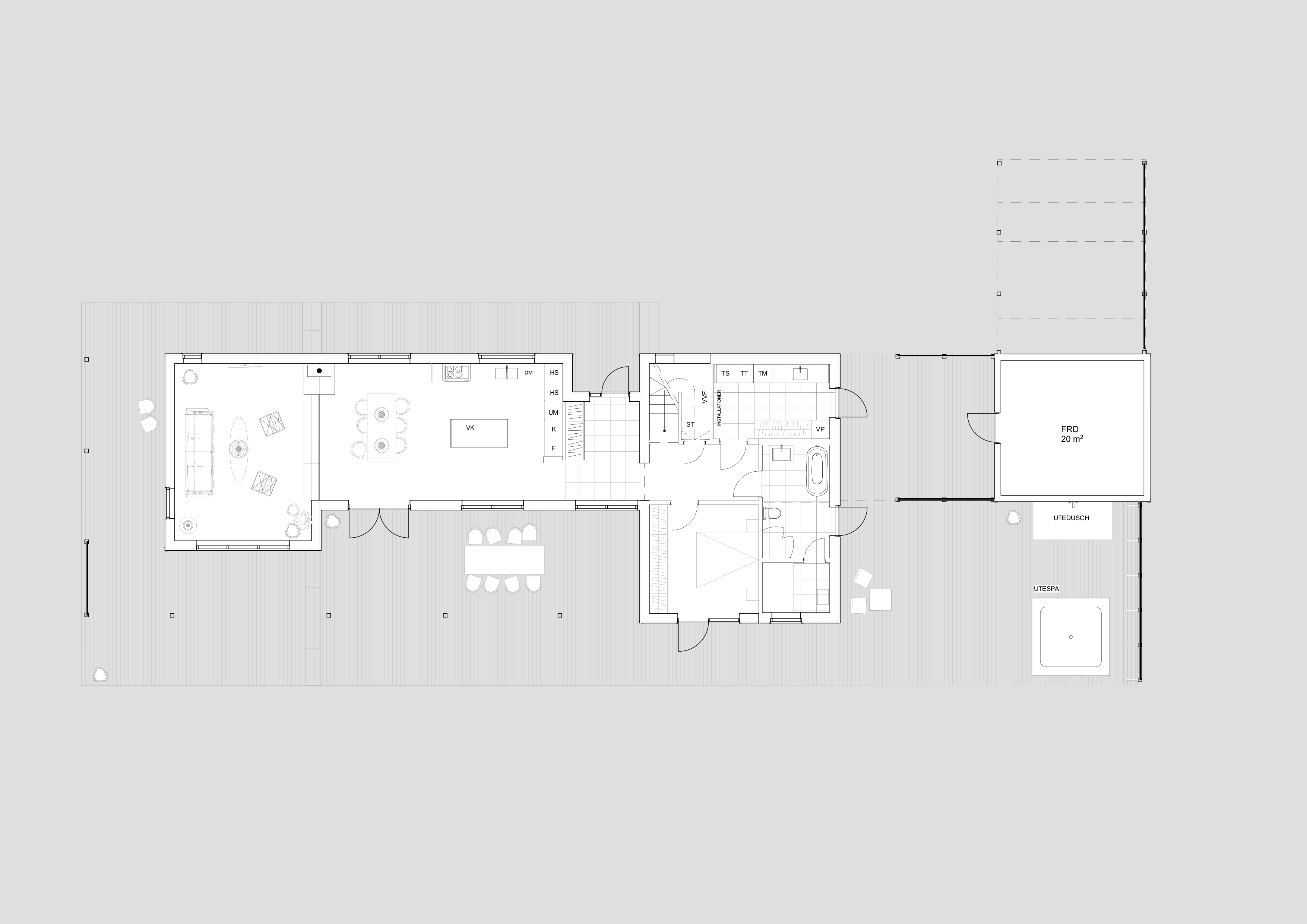 Arkitektritad villa med kebonyfasad och trästomme i Kalmar